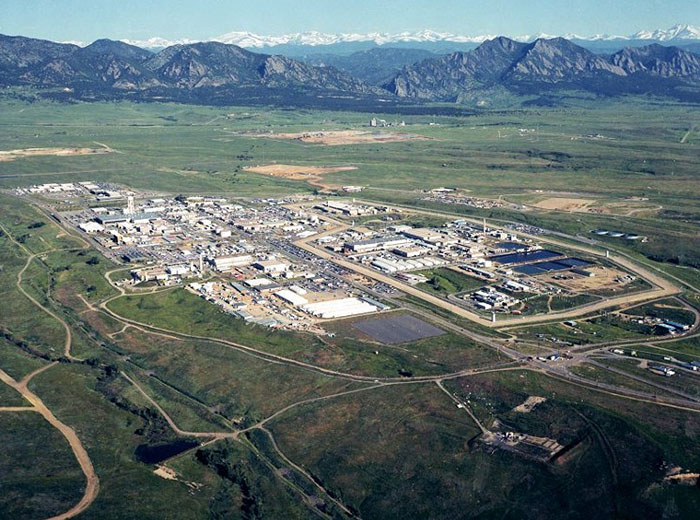An aerial view of the Rocky Flats Plant.