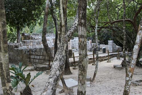 Restoration of ruins along pathway, Chichen Itza, Mexico's Yucatán Peninsula