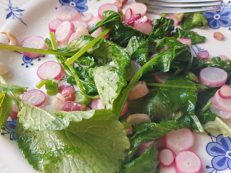 Sauteeing Radishes & Greens in Butter w Fleur de Sel