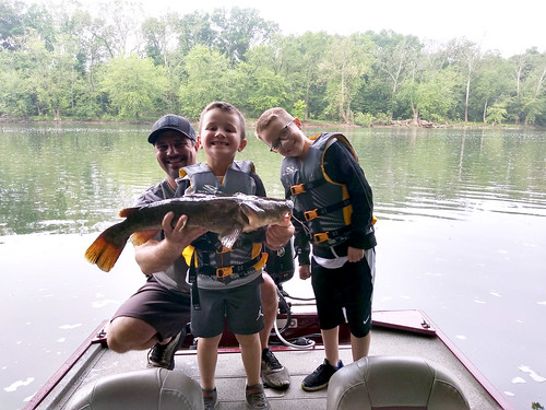 Photo of man and two boys catching with a flathead catfish they caught