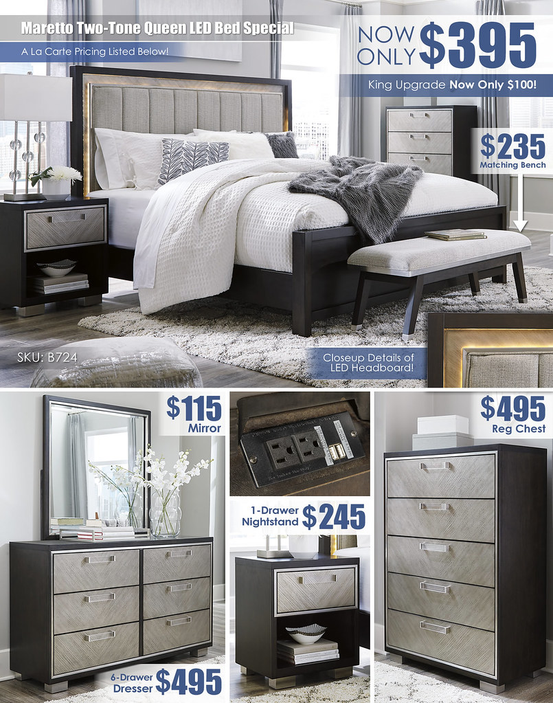 Maretto Two-Tone Queen LED Bed A La Carte Special_B724