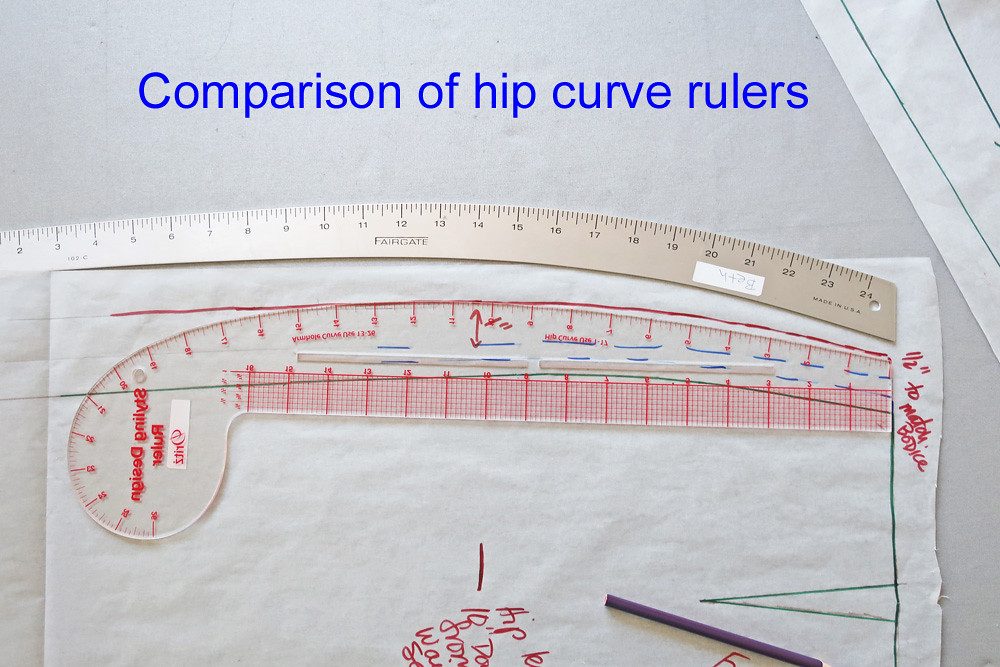 Burda comparison of hip curve ruler