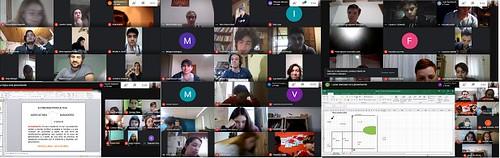 Alumnos y docentes en distintas aulas virtuales mientras trabajan utilizando GOOGLE MEET