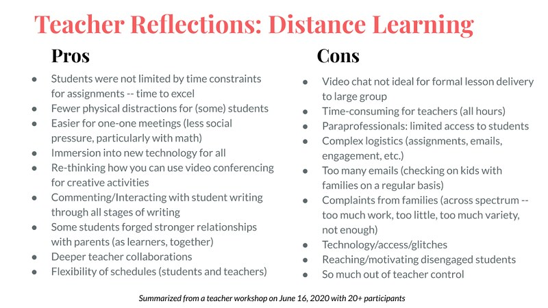 Distance Learning Pros Cons
