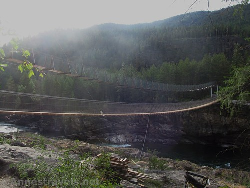 The old (left) and new Kootenai Swinging Bridges, Cabinet Mountains, Montana