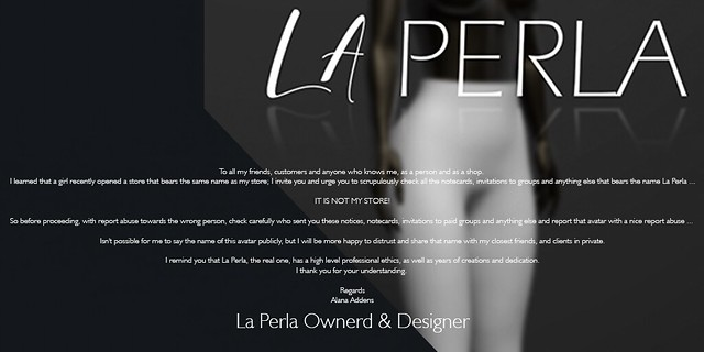 Announcement of La Perla store.