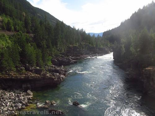 Views down the Kootenai River from the swinging bridge, Cabinet Mountains, Montana