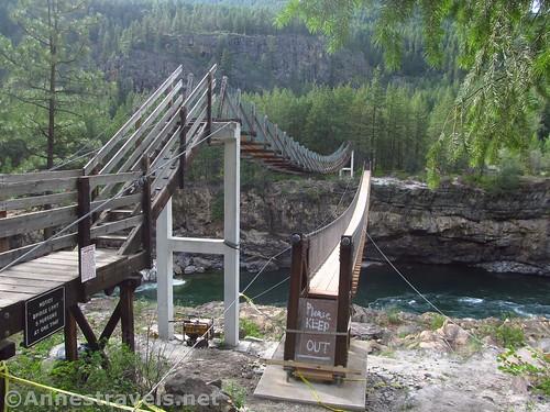 The two swinging bridges over the Kootenai River, Cabinet Mountains, Montana