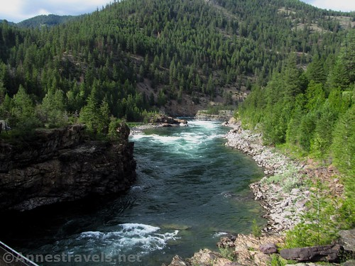 Views up the Kootenai River from the swinging bridge, Cabinet Mountains, Montana