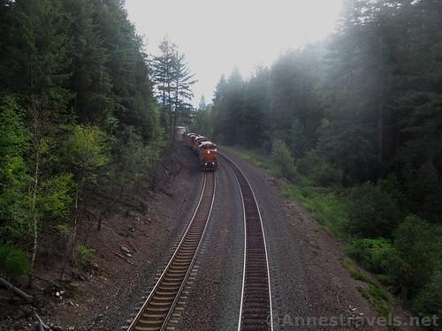 BNSF Train from the bridge over the tracks in Kootenai Park, Cabinet Mountains, Montana