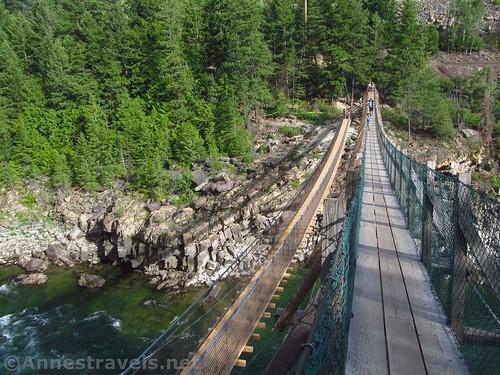 The swinging bridge in Kootenai County Park, Montana