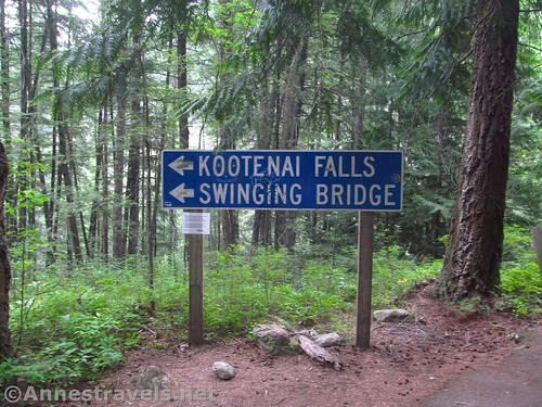Trail sign for Kootenai Falls and the Kootenai Swinging Bridge, Cabinet Mountains, Montana
