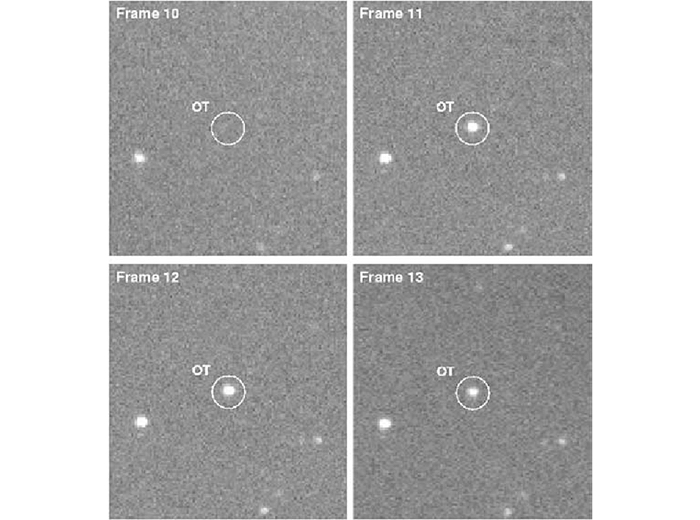 Four frames of a gamma-ray burst captured by a LANL telescope.
