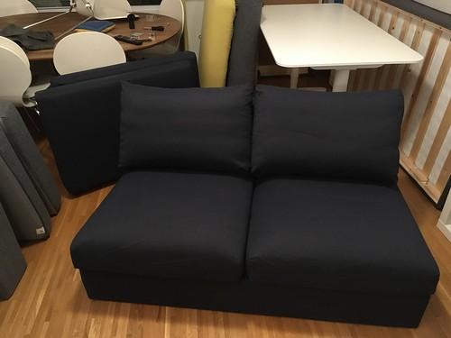 Blå 2-sitssoffa 1