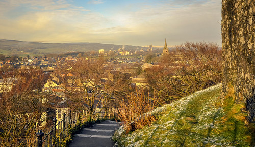 buildings church clitheroe countryside england fence frost lancashire landscape path spire tarmac tower trees uk wall winter britain europe factory houses steam unitedkingdom