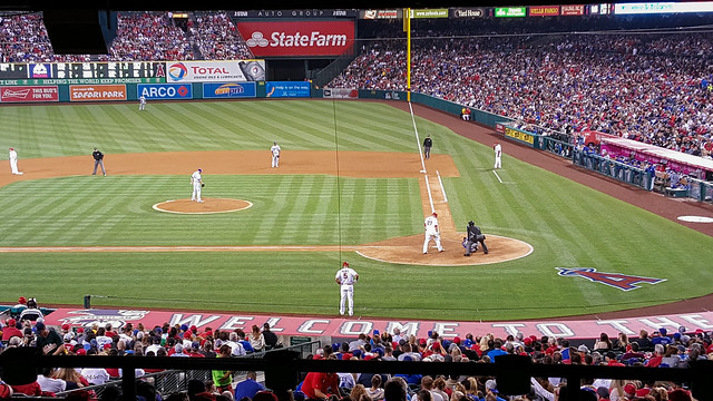 Night game at Angels Stadium