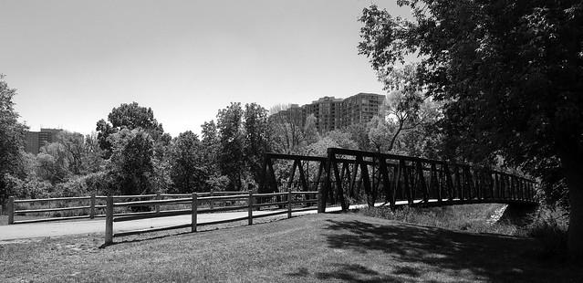 rusty metal bridge across the humber river...