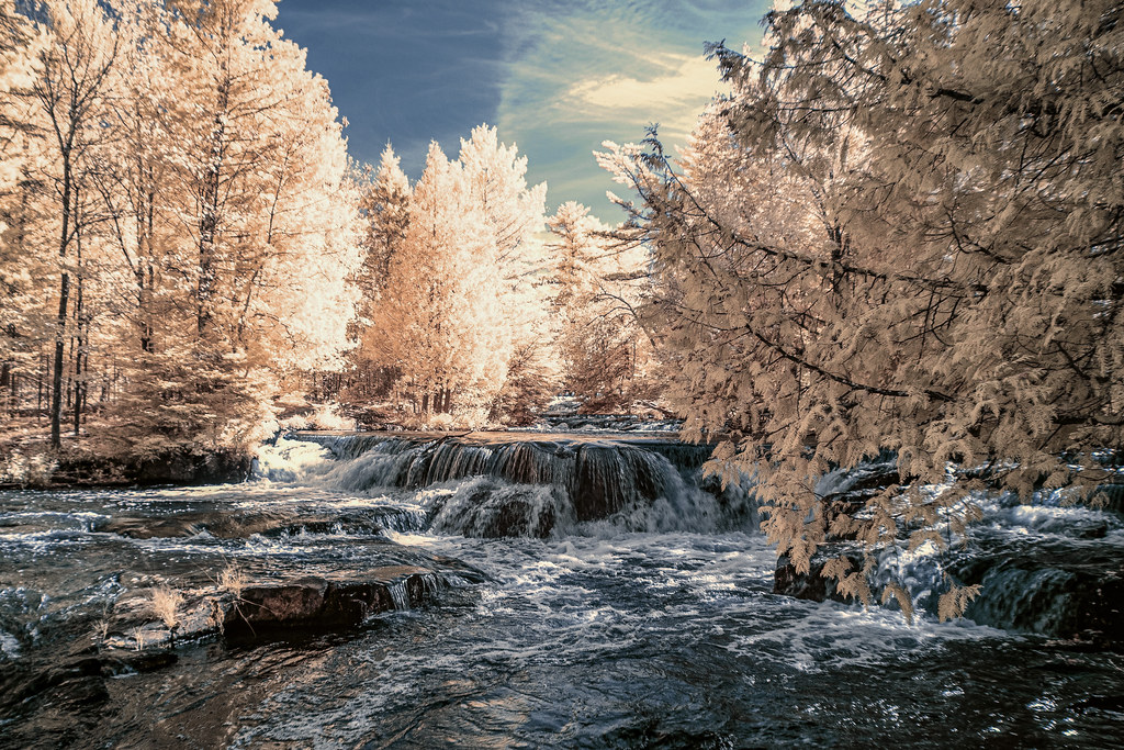 the Ontonagon River upstream from Bond Falls, Michigan, shot with Infrared filter October 2019