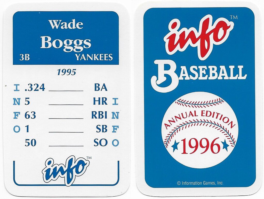 1996 Info Baseball Game Cards - Boggs, Wade