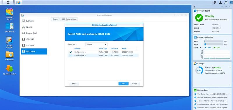 DSM - Storage - SSD Cache - Create - Step 2