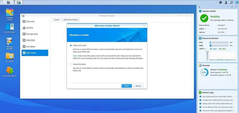 DSM - Storage - SSD Cache - Create - Step 1
