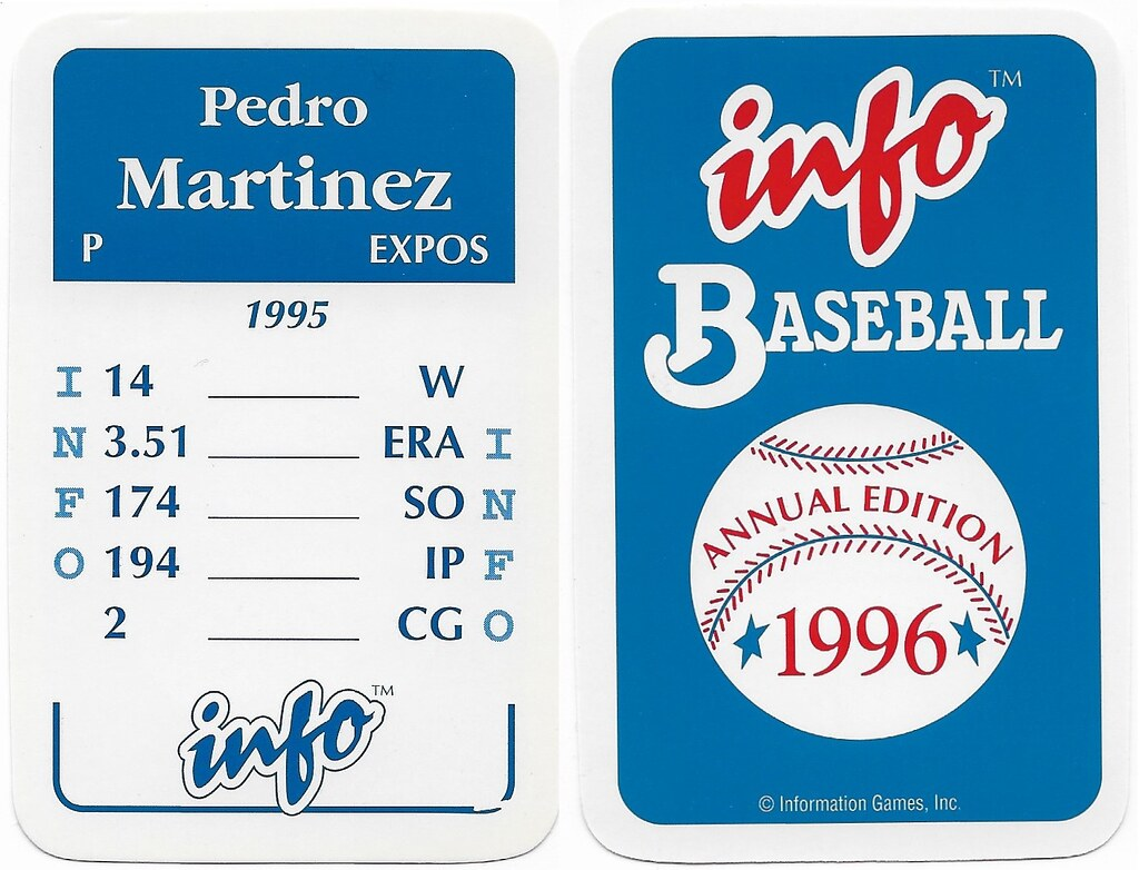 1996 Info Baseball Game Cards - Martinez, Pedro