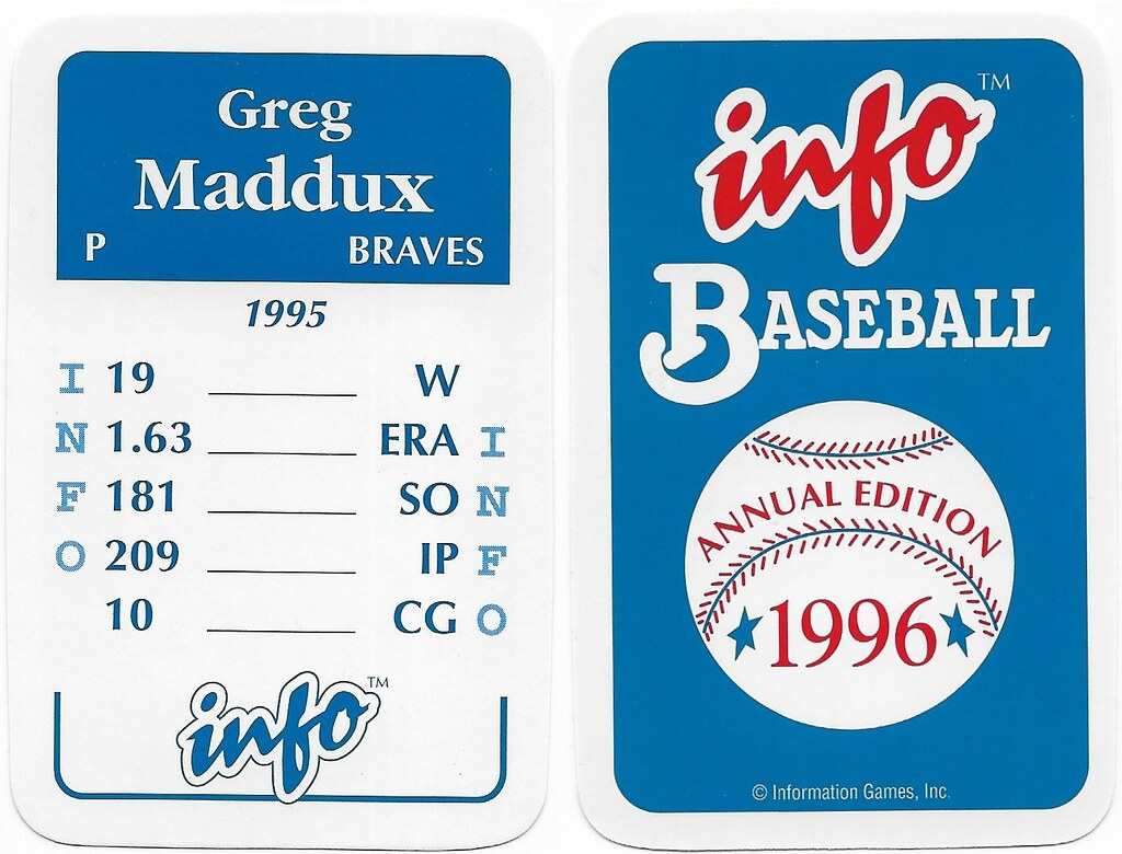 1996 Info Baseball Game Cards - Maddux, Greg