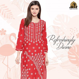 Ada Hand Embroidered chikan RED kurti