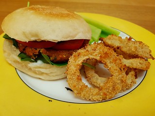 Chipotle Lentil Burgers; OMG Oven-Baked Onion Rings