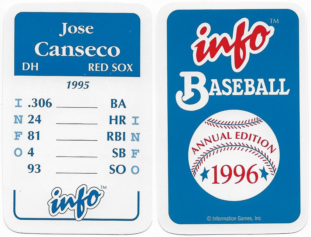 1996 Info Baseball Game Cards - Canseco, Jose