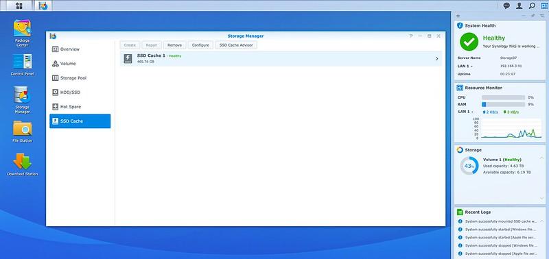 DSM - Storage - SSD Cache - Create - Done