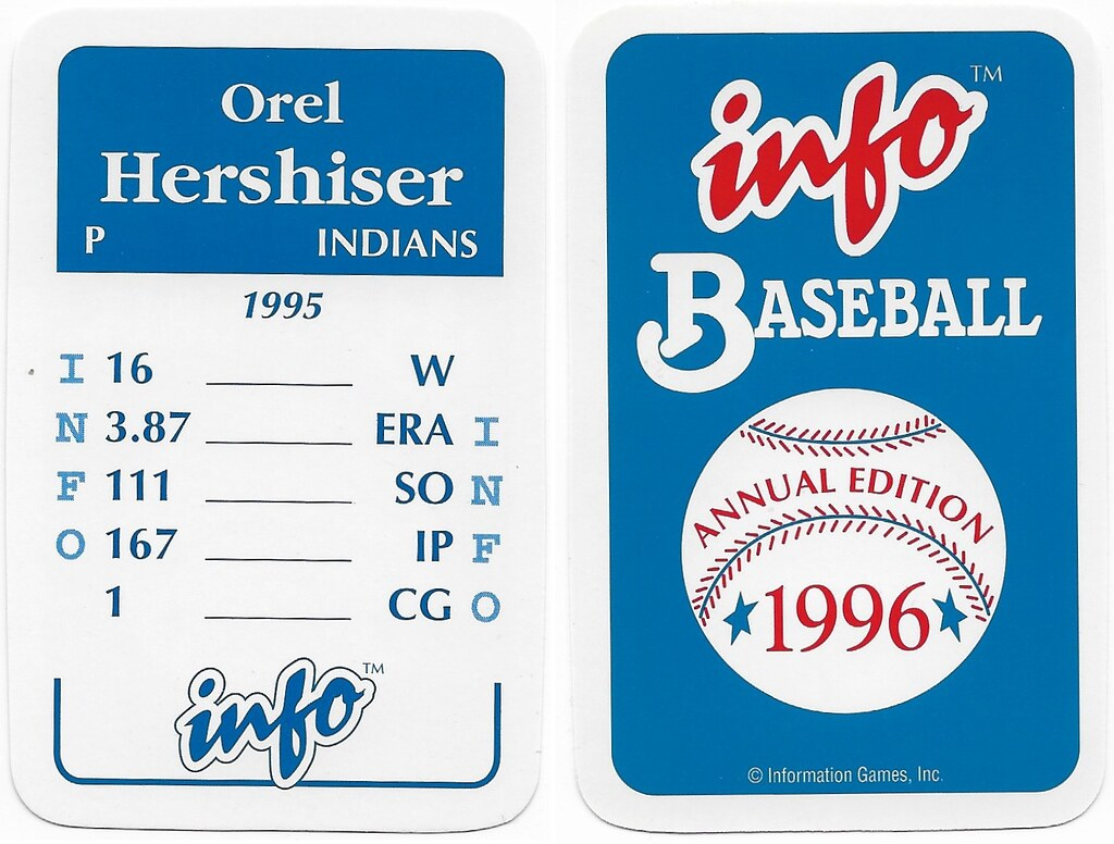 1996 Info Baseball Game Cards - Hershiser, Orel