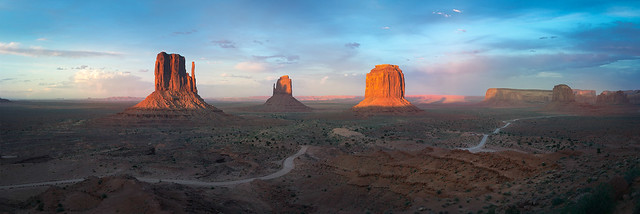 Monument Valley sunset panorama, 2019