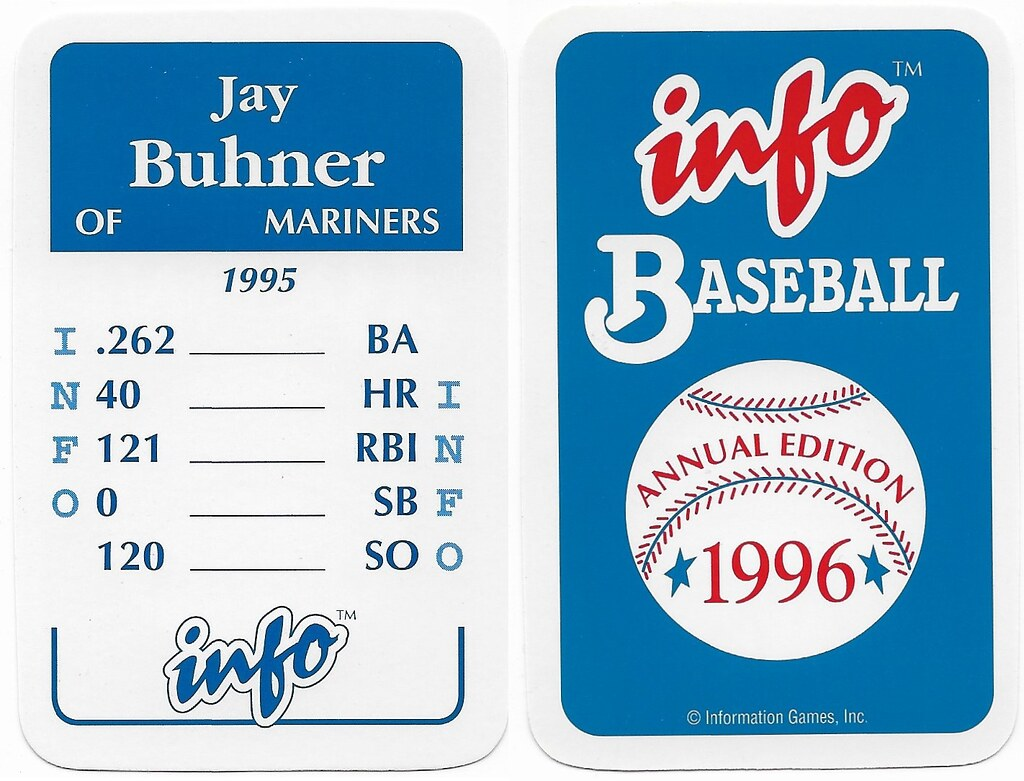 1996 Info Baseball Game Cards - Buhner, Jay