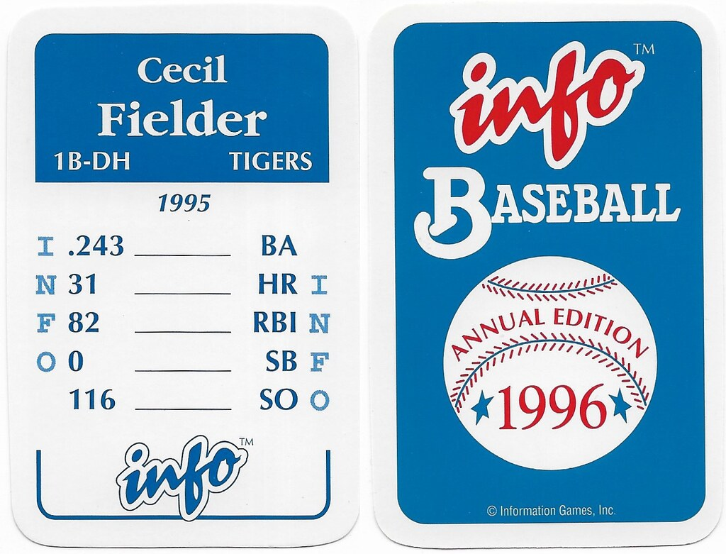 1996 Info Baseball Game Cards - Fielder, Cecil