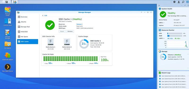 DSM - Storage - SSD Cache - Usage