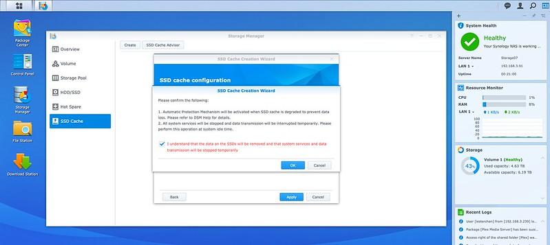 DSM - Storage - SSD Cache - Create - Step 5