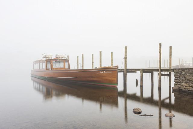 Lady Derwentwater in the mist at Derwentwater, Lake District