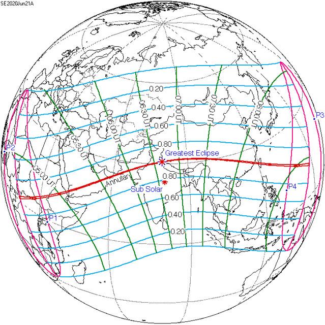 VCSE - a 2020. évi napfogyatkozás láthatósága. A nagy piros csillag a fogyatkozás legnagyobb fázisát, leghosszabb időtartamának helyét jelöli (Greatest Eclipse), a kisebb piros csillag pedig azt a pontot, ahol a Nap a zenitben van a legnagyobb fázis idején (Sub Solar). A középső piros sáv azt jelenti, ahonnét gyűrűs fogyatkozást lehet látni. A kék vonalak a fogyatkozás nagyságát jelölik (20%, 40%, 60%, 80%: 0.20, .40, 0.60, 0.80). A kép ráklikkelve megnő. - Forrás: angol nyelvű wikipédia