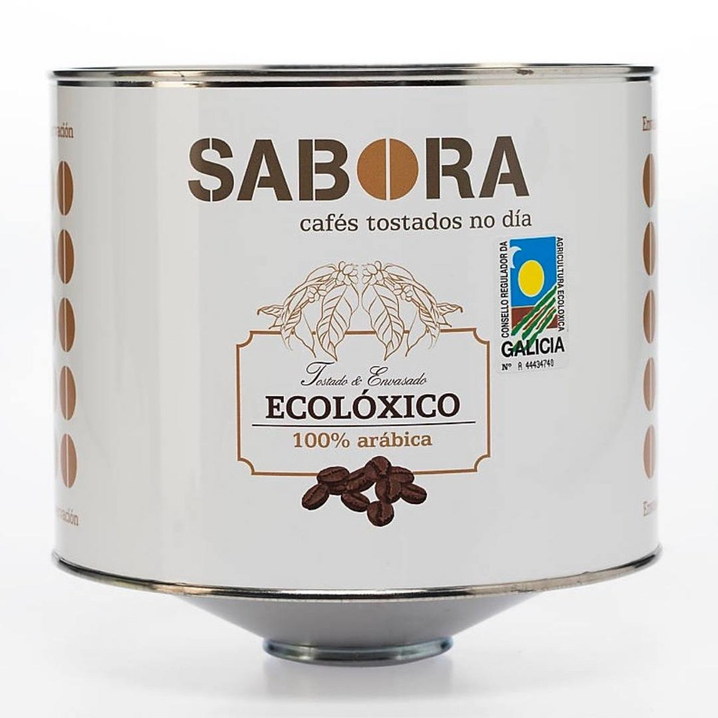 Metallic container of two kilos of organic coffee.