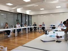 La Junta Directiva de la Escuela de Armería de Eibar, durante la presentación de Lab IoT.
