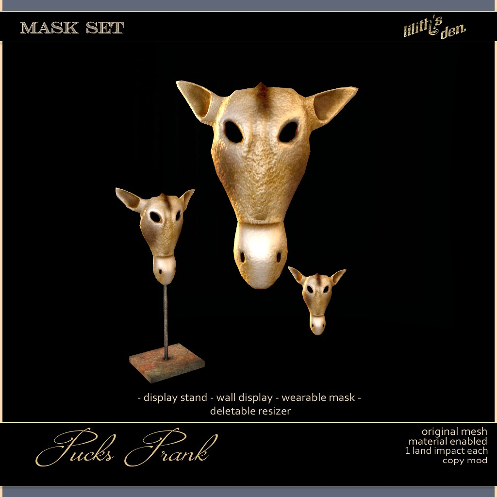 Lilith's Den –  Pucks Prank – Donkey Mask Set