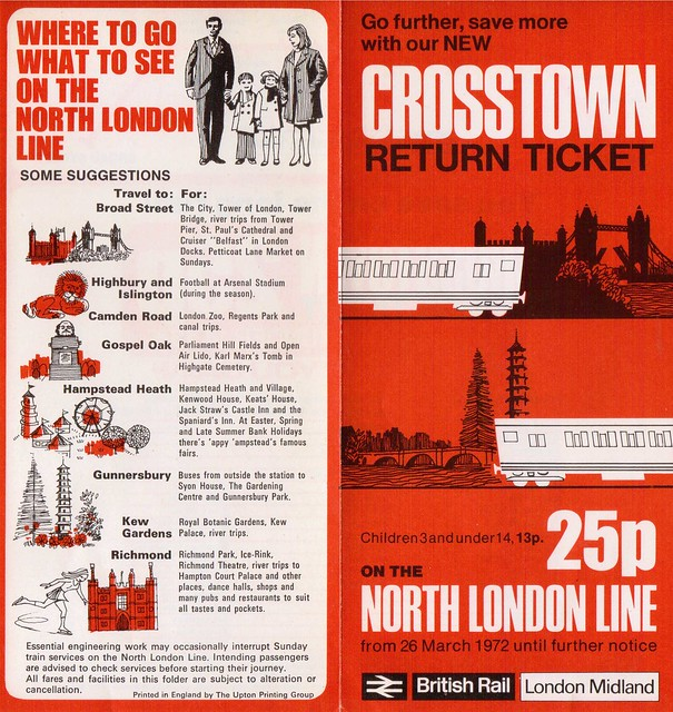 Crosstown Ticket on the North London Line flyer of 1972 - outside