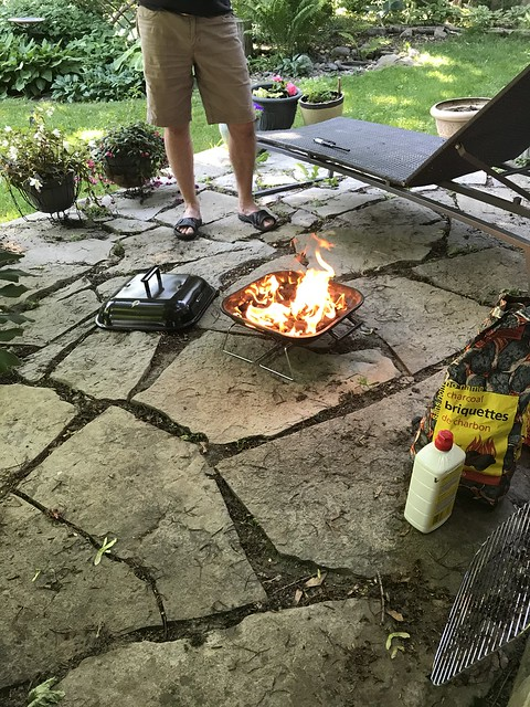 Backyard predinner flame-up