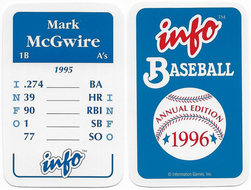 1996 Info Baseball Game Cards - McGwire, Mark