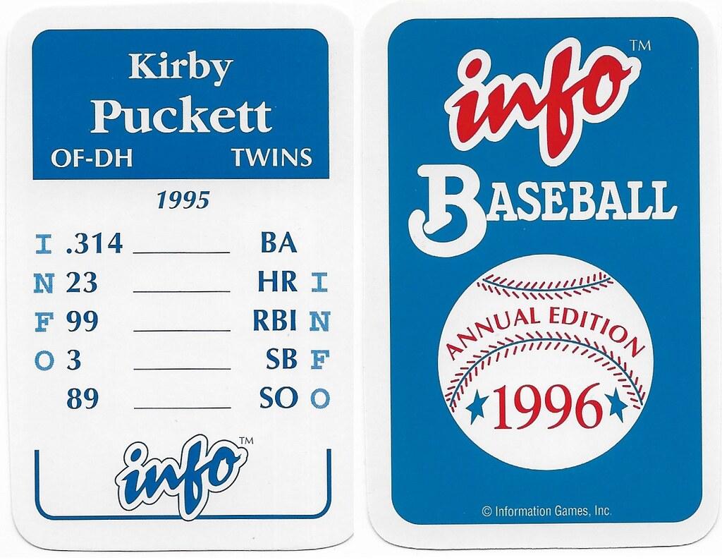 1996 Info Baseball Game Cards - Puckett, Kirby