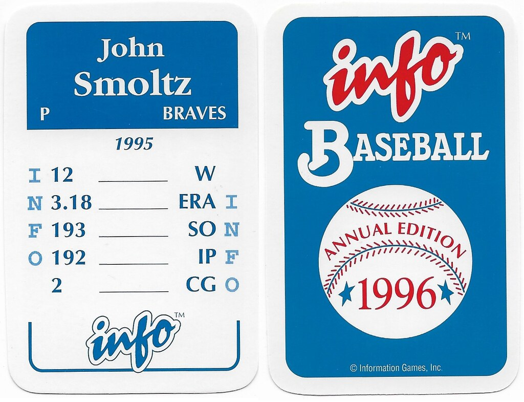 1996 Info Baseball Game Cards - Smoltz, John