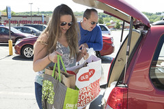 State Rep. Stephanie Cummings  collects donations for GWIM during a food drive she hosted at ShopRite.