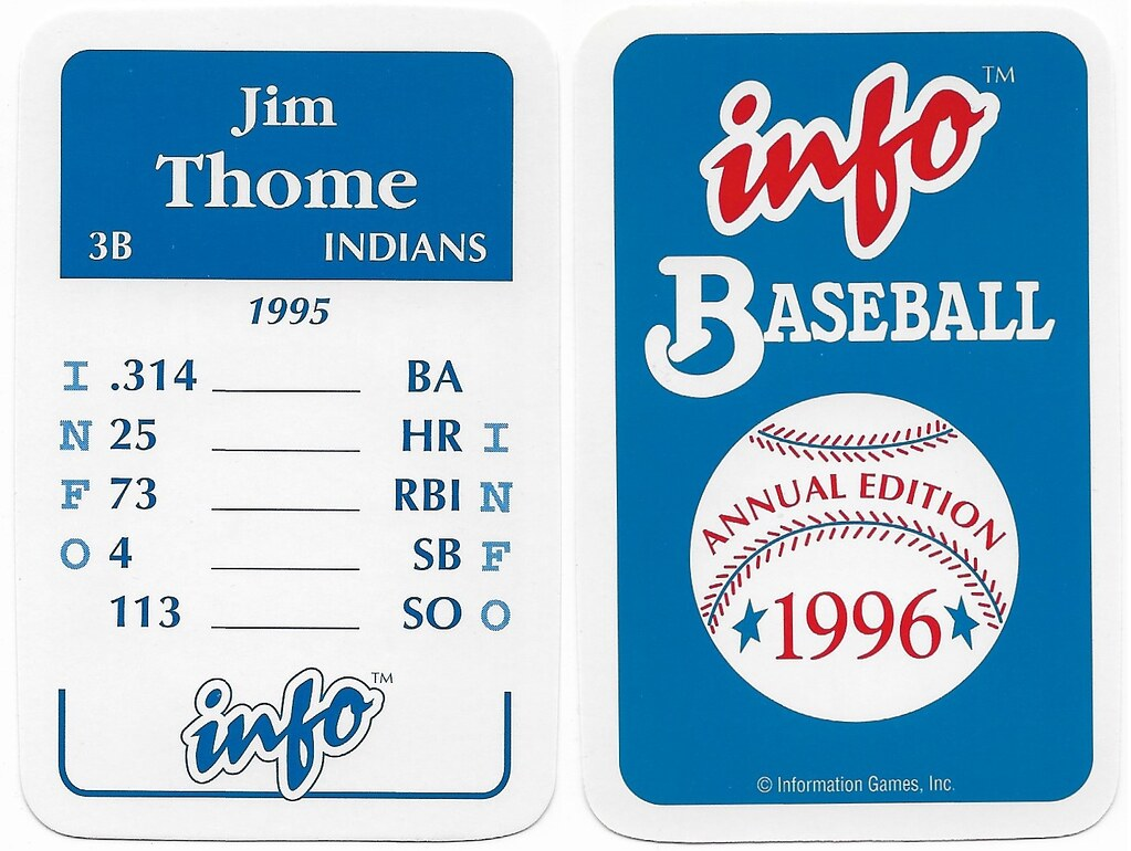 1996 Info Baseball Game Cards - Thome, Jim