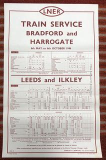 LNER - train services timetable poster 1946 - Bradford & Harrogate, Leeds & Ilkley